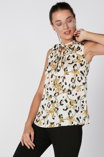 Sustainability Printed Sleeveless Top with Pussy Bow