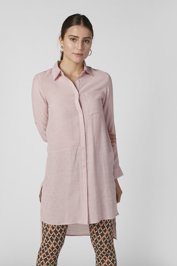 Textured Shirt Tunic with Long Sleeves and High Low Hem