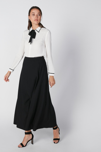 Plain A-Line Maxi Skirt with Pocket Detail and Zip Closure
