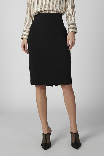 Plain Midi Pencil Skirt with Back Slit