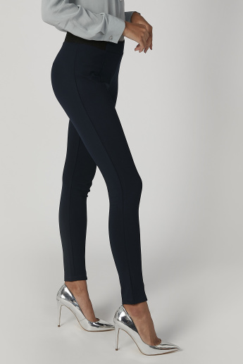 Skinny Fit Plain Mid-Waist Ponte Leggings with Elasticised Waistband