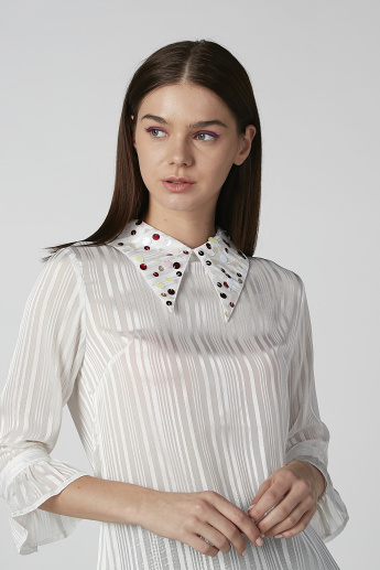 Textured Top with Embellished Collar and 3/4 Flounce Sleeves