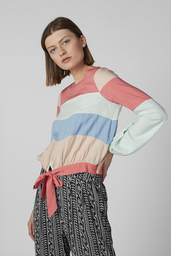 Striped Top with Long Sleeves and Tie Ups