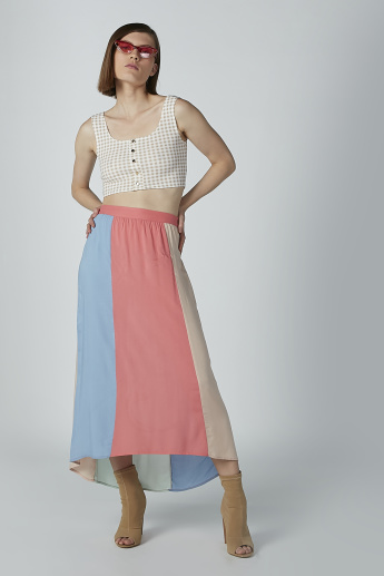 Striped A-line Maxi Skirt with High Low Hem and Elasticised Waistband