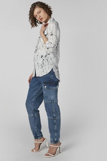 Printed Shirt with Long Sleeves and Flap Pockets