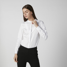 Sustainable Plain Shirt with Mandarin Collar and Long Sleeves