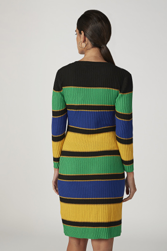 Striped Midi Bodycon Dress with Round Neck and Long Sleeves