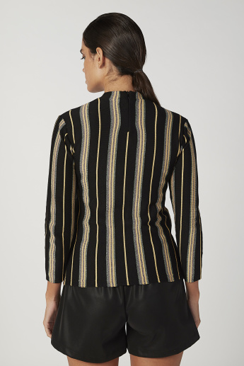 Striped Top with High Neck and Long Sleeves