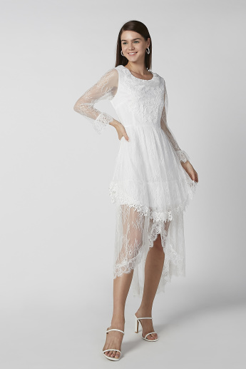 Sustainability Lace Midi Dress with Long Sleeves and Asymmetric Hem