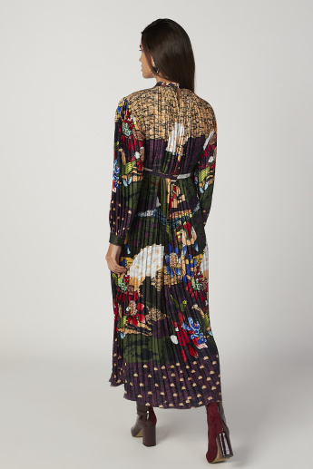 Sustainable Printed Maxi A-line Dress with Long Sleeves and Tie Ups