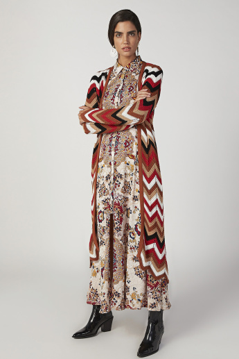 Sustainability Printed Maxi A-line Dress with Long Sleeves
