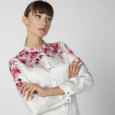 Sustainability Printed Shirt with Long Sleeves and Concealed Placket