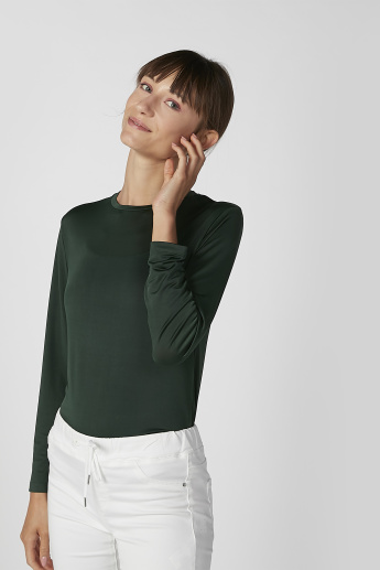 Sustainability Plain T-shirt with Round Neck and Long Sleeves