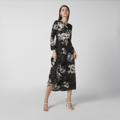 Sustainability Floral Printed Midi A-line Dress with Long Sleeves