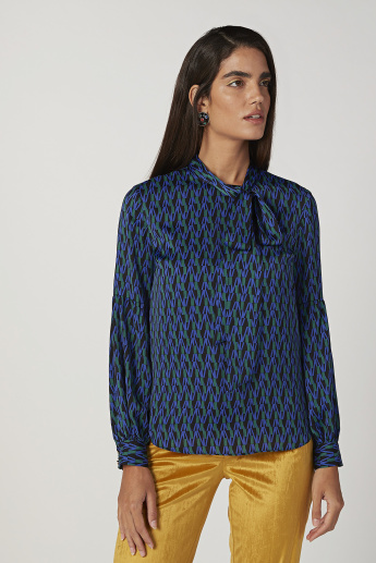 Printed Top with Necktie and Bishop Sleeves