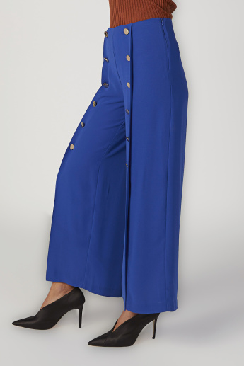 Sustainable Wide Plain Mid Waist Flared Pants with Front Slit