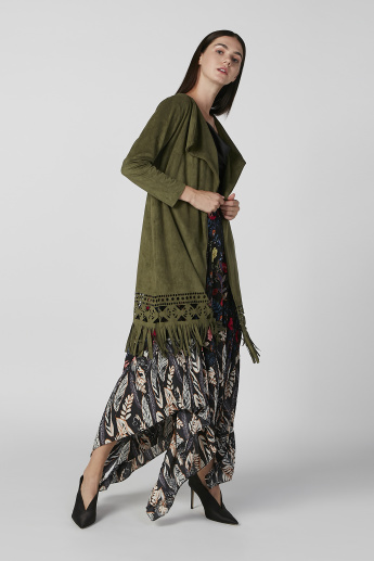 Textrued Cardigan with 3/4 Sleeves and Fringes