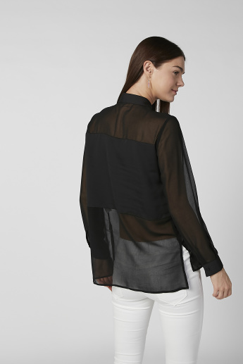 Sustainable Plain Shirt with Long Sleeves and High Low Hem