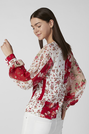 Floral Printed Top with Round Neck and Bishop Sleeves