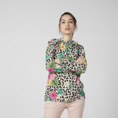 Sustainability Floral Printed Top with High Neck and Long Sleeves