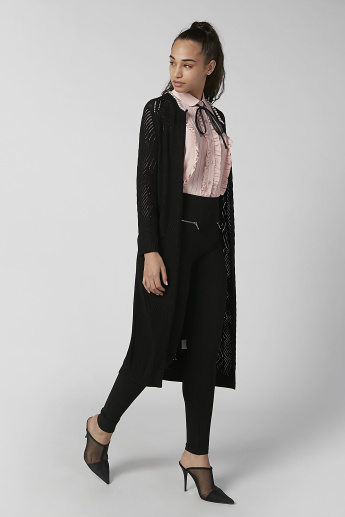 Sustainability Textured Longline Cardigan with Long Sleeves and Tie Ups