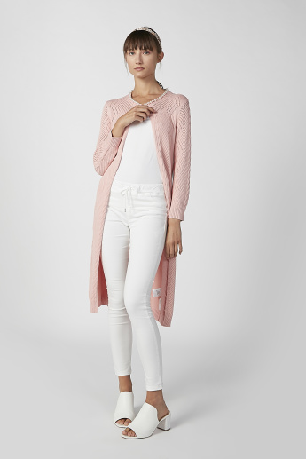 Sustainable Textured Longline Cardigan with Long Sleeves and Tie Ups