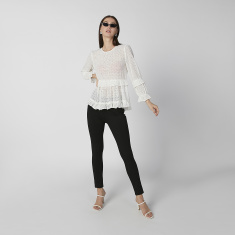 Sustainable Schiffli Top with Boat Neck and Flounce Sleeves