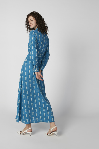 Printed Maxi A-line Dress with Long Sleeves and Tie Ups