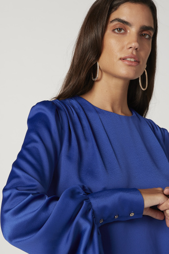 Sustainability Plain Top with Round Neck and Bishop Sleeves