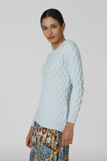 Quilted Sweater with Round Neck and Long Sleeves