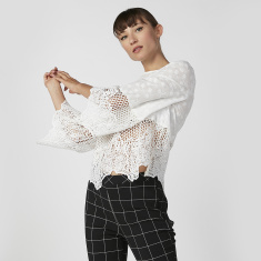 Lace Detail Top with Round Neck and Bell Sleeves