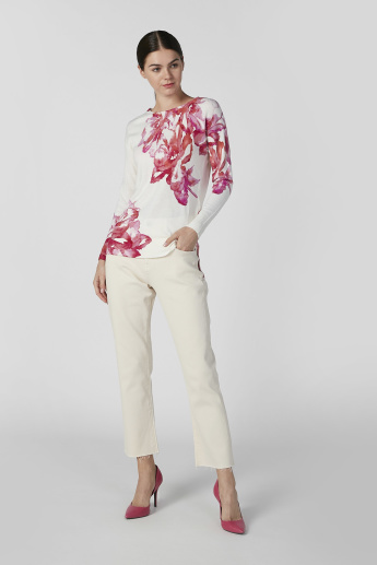 Floral Printed Sweater with Round Neck and Long Sleeves