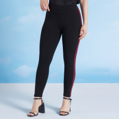 Skinny Fit Plain Mid Waist Ponte Leggings with Elasticised Waistband