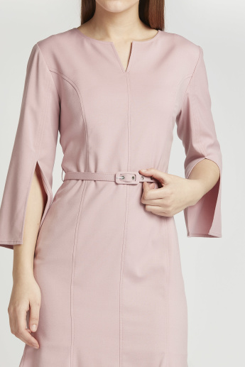 Solid Midi A-line Formal Dress with 3/4 Sleeves and Belt
