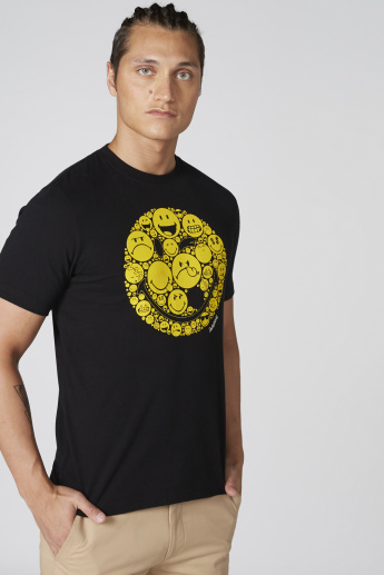 Smiley World Printed T-Shirt with Crew Neck and Short Sleeves