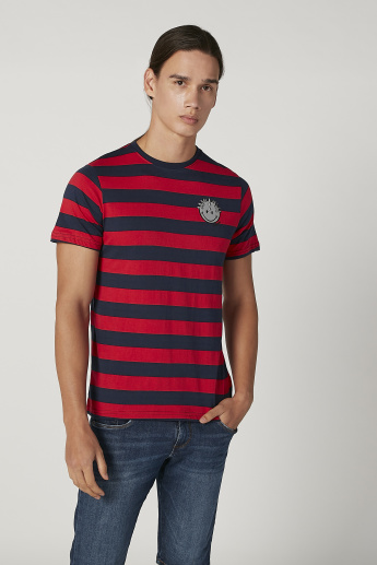 Sustainability Smiley World Slim Fit Striped T-shirt with Crew Neck