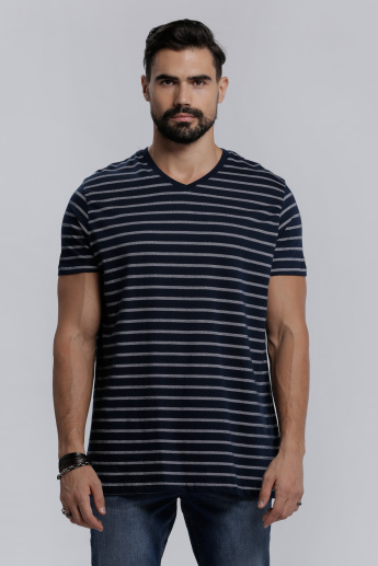 Striped V-Neck T-Shirt with Short Sleeves in Regular Fit