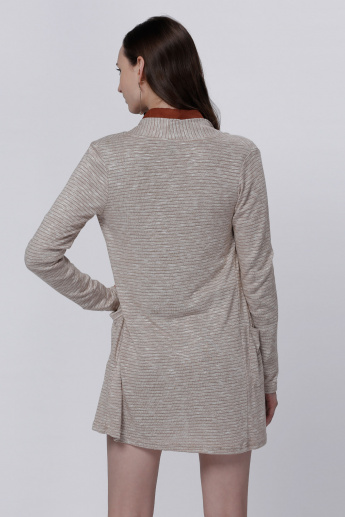 Textured Open Front Shrug with Long Sleeves and Pocket Detail