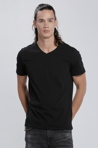 Printed T-Shirt with V-Neck and Short Sleeves