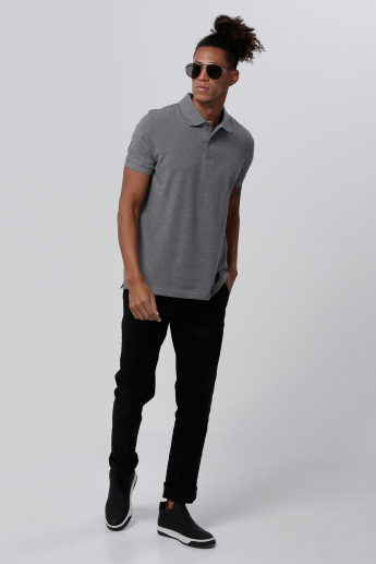 Textured Polo Neck T-Shirt with Short Sleeves