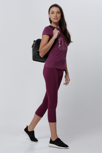 Cropped Leggings with Elasticised Waistband