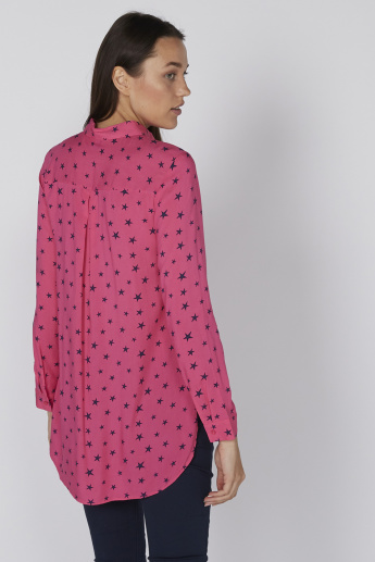 Printed Shirt with Long Sleeves and High Low Hem