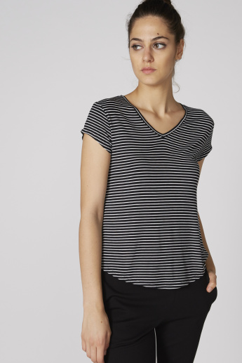 Striped V-Neck T-Shirt with Short Sleeves and High Low Hem