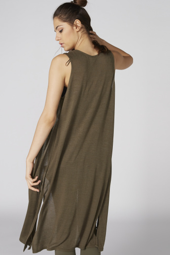 Open Front Longline Sleeveless Shrug with Side Slits
