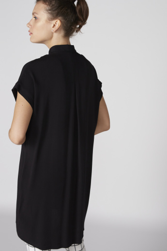 Longline Shirt with Extended Sleeves