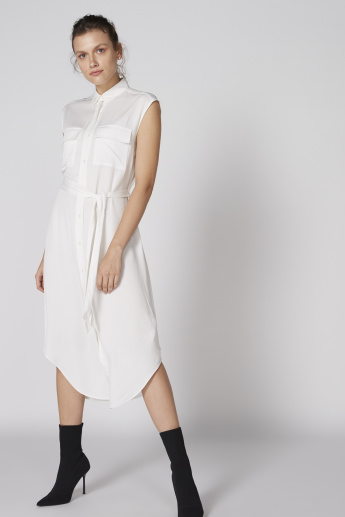 Sleeveless Shirt Dress with Complete Placket and Tie Ups