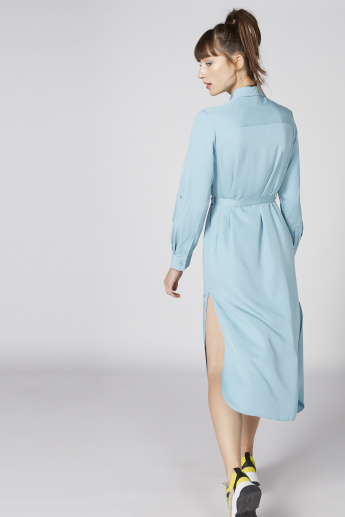 Tie Up Belt Detail Midi Shirt Dress with Long Sleeves and Side Slits
