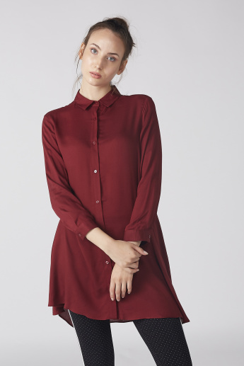Longline Shirt with 3/4 Sleeves and Complete Placket