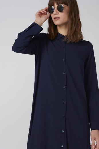 Midi Shirt Dress with Long Sleeves and Complete Placket