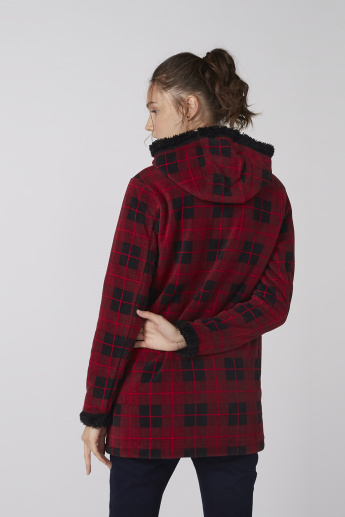 Chequered Jacket with Long Sleeves and Zip Closure
